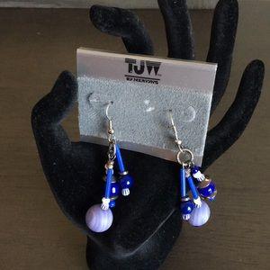 Blue purple wooden beaded drop earrings E18